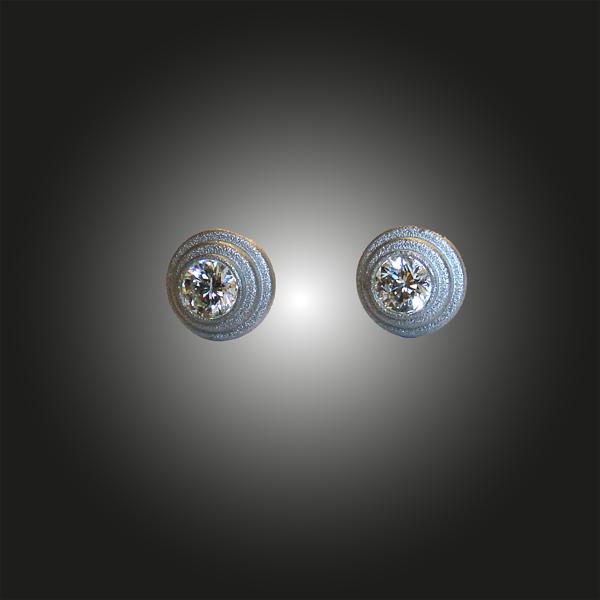 Formschmuck-Ohrstecker Silber rhodiniert mit Zirkonia weiss