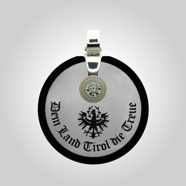 Formschmuck-Kette mit Silberanhänger rund Motiv Land Tirol Adler