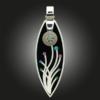 Formschmuck-Kette mit Silber Anhänger Blumen Motiv bunt