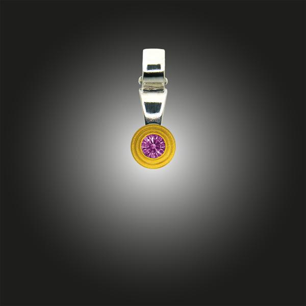 Silberanhänger Grundelement Zirkonia fancy purple teilvergoldet