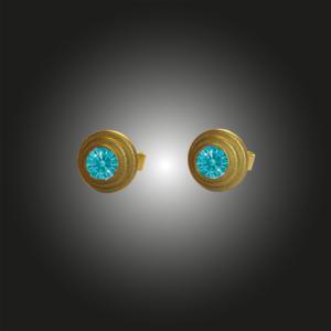 Formschmuck-Ohrstecker Silber vergoldet Zirkonia mint