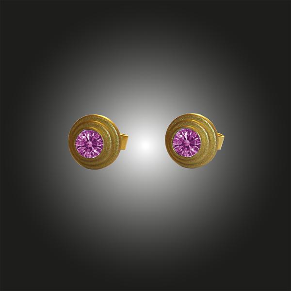 Formschmuck-Ohrstecker Silber vergoldet Zirkonia purple