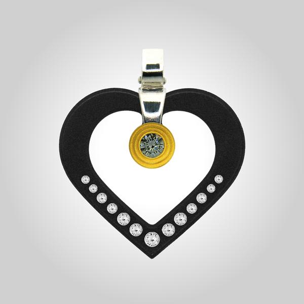 Formschmuck-Kette mit Silberanhänger Damen herzform schwarz mit Zirkonia