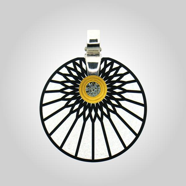Formschmuck-Kette mit Silber Anhänger mit Zirkonia groß Motiv Sonne