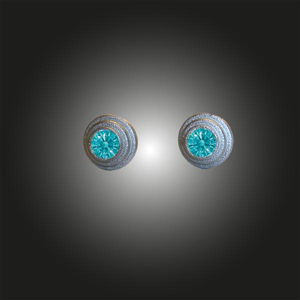 Formschmuck-Ohrstecker Silber rhodiniert Zirkonia mint