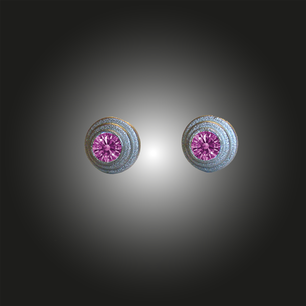 FORMschmuck-Ohrstecker Silber rhodiniert Zirkonia purple