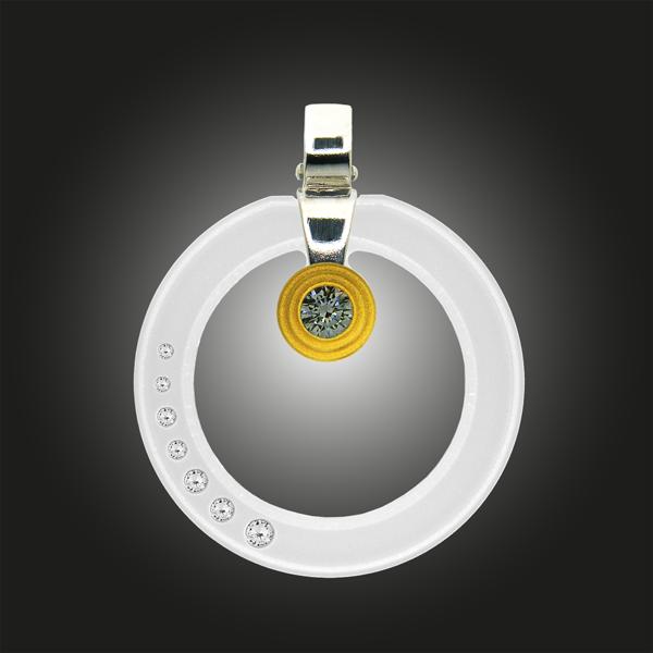 FORMschmuck-Kette mit Silber Anhänger groß transparent weiß mit Zirkomia