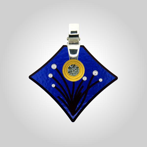 FORMschmuck-Kette mit Silberanhänger groß Blumenmotiv