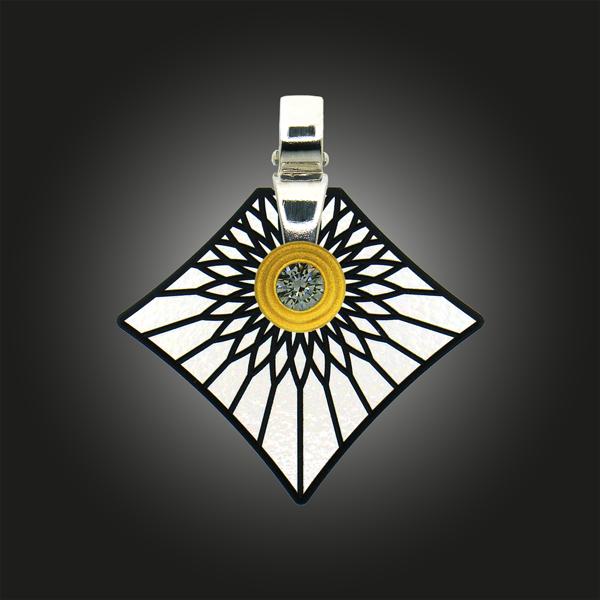 FORMschmuck-Kette mit Silber Anhänger groß Strahlen