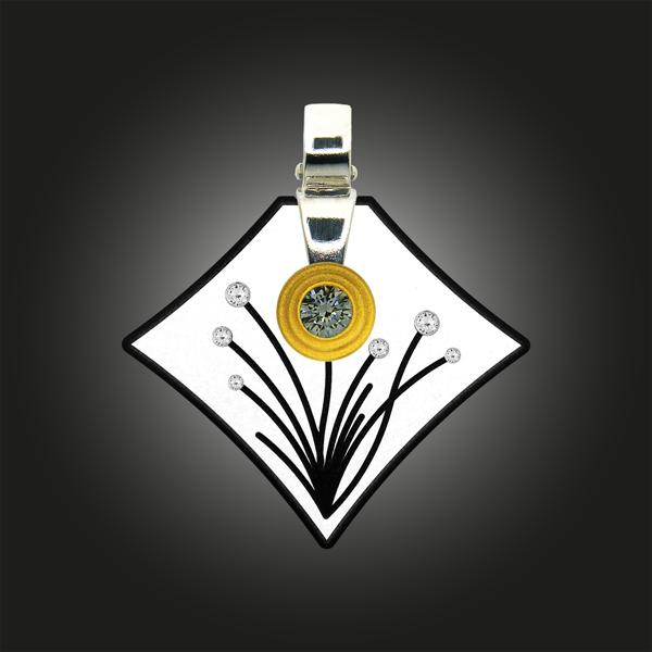 FORMschmuck-Kette mit Silber Anhänger groß mit Blumendekor