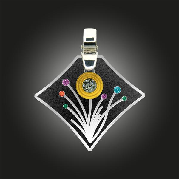 FORMschmuck-Kette mit Silber Anhänger mit Blumenmotiv