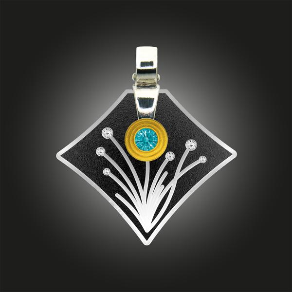 Formschmuck-Kette mit Silber Anhänger Zirkonia fancy mint Blumen Motiv