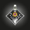 Formschmuck-Kette mit Silberanhänger Zirkonia fancy purple Blumen Motiv