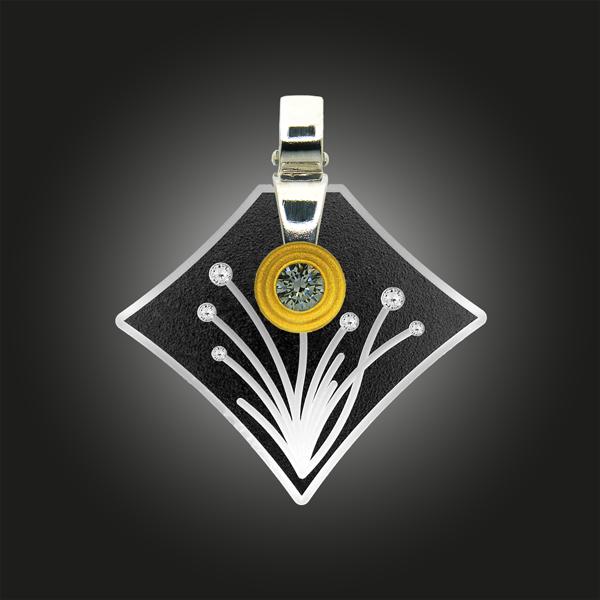 Formschmuck-Anhänger Silber Zirkonia Blumen Motiv