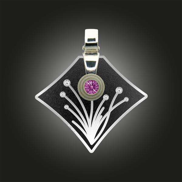Formschmuck-Kette mit Anhänger Silber Zirkonia fancy purple Blumen Motiv