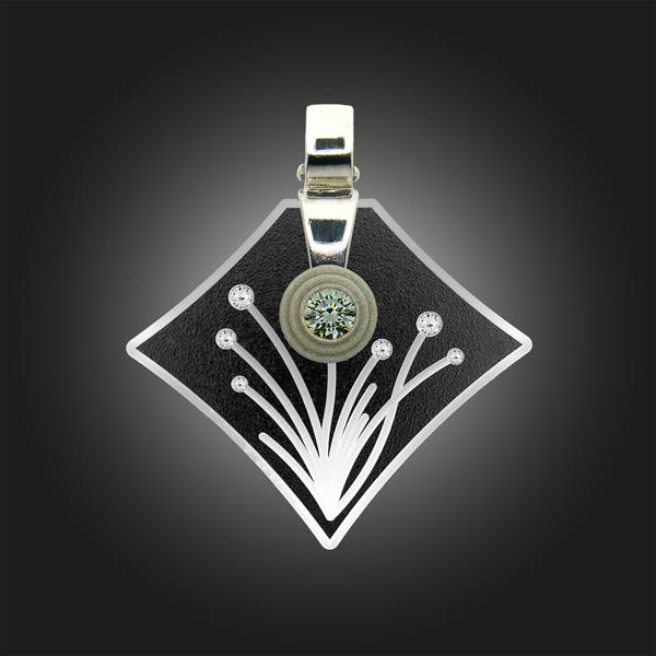 Formschmuck-Kette mit Anhänger Silber Zirkonia Blumen Motiv