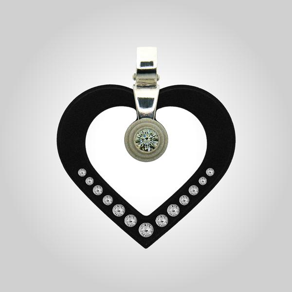 FORMschmuck-Silber Anhänger Herzform schwarz