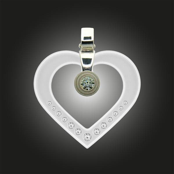 FORMschmuck-Silberanhänger Damen Herz mit Zirkonia
