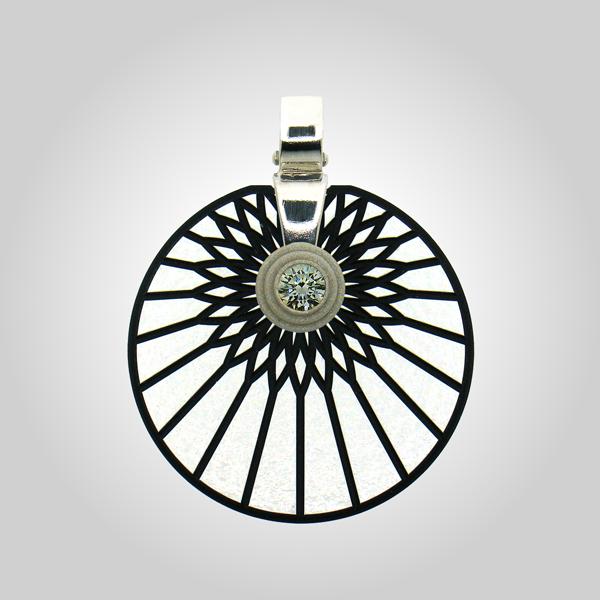 FORMschmuck-Kette mit Silberanhänger Kreis Sonne