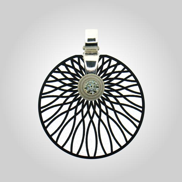 FORMschmuck-Kette mit Anhänger Silber rund Muster