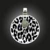 FORMschmuck-Kette mit Silber Anhänger rund groß Leoparden Muster
