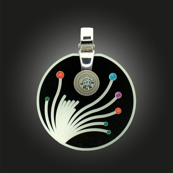 FORMschmuck-Kette mit Anhänger Silber groß rund Blumen Motiv