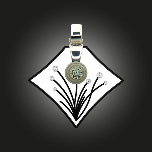 FORMschmuck-Kette mit Silberanhänger groß mit Blumendekor