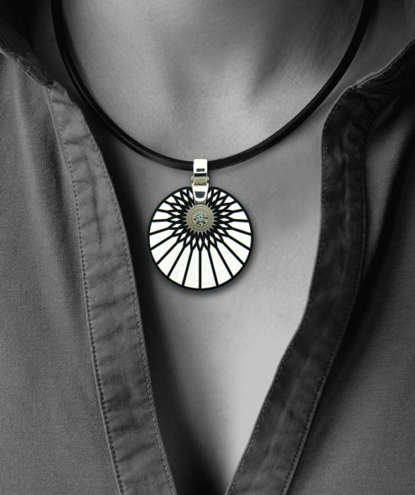 FORMschmuck-Silberanhänger Kreis rund Motiv Sonne