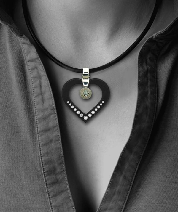 Formschmuck-Silberanhänger groß herzform schwarz mit Zirkonia