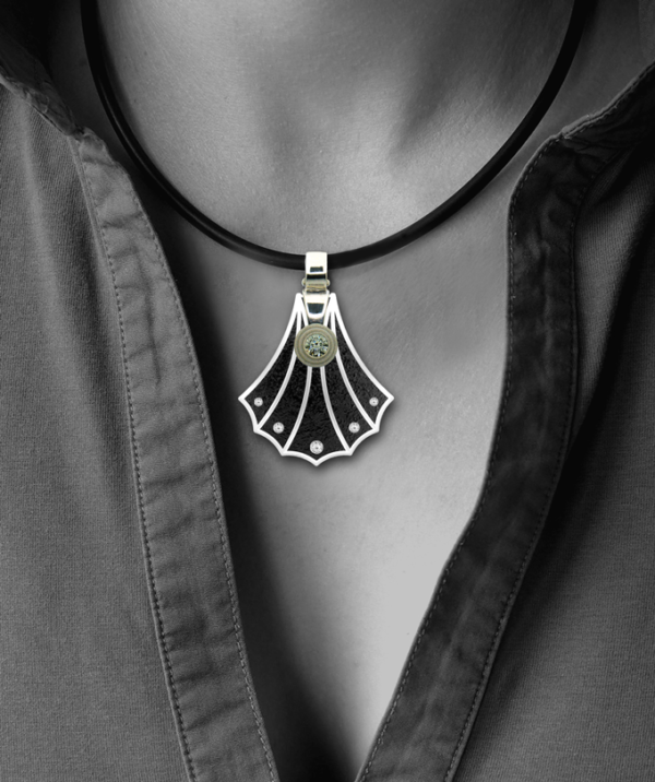 Formschmuck-Silberanhänger Damen Muschel mit Zirkonia
