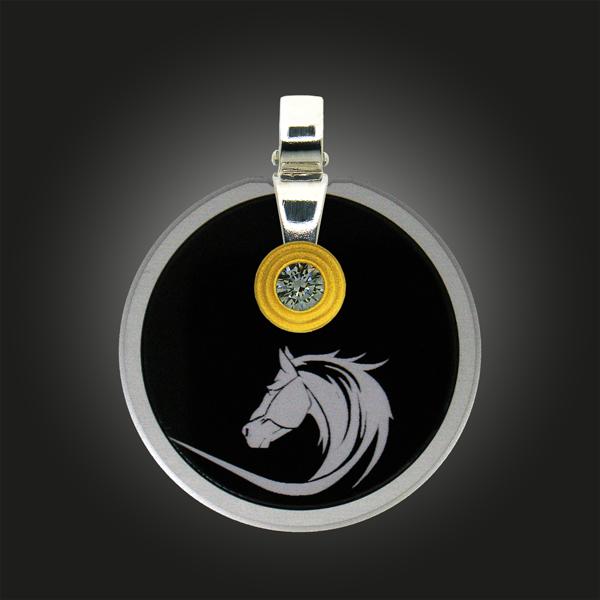 FORMschmuck-Silber Anhänger groß Kreis Pferd