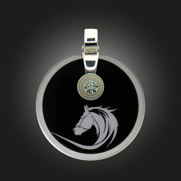 FORMschmuck-Kette mit Silber Anhänger Kreis Pferdekopf