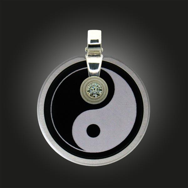 """FORMschmuck-Kette mit Silber Anhänger Kreis """"Yin Yang"""""""