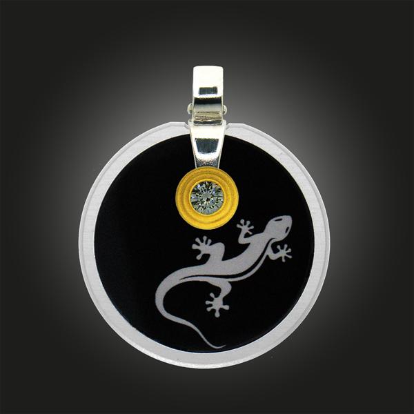 FORMschmuck-Silber Anhänger Kreis groß mit Eidechse