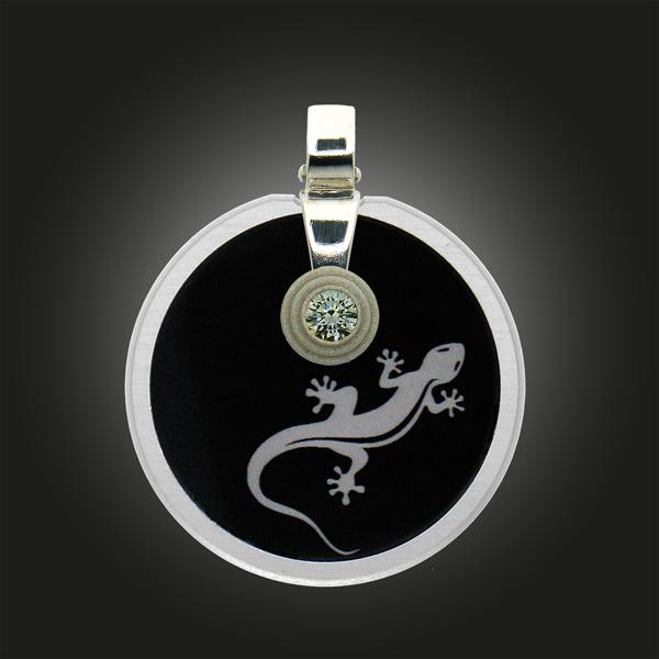 FORMschmuck-Kette mit Silberanhänger Kreis mit Gecko