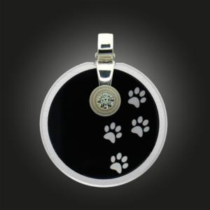 FORMschmuck-Kette mit Silber Anhänger Kreis mit Tierpfoten