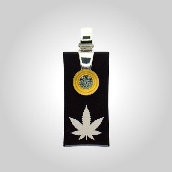 FORMschmuck-Kette mit Silberanhänger rechteckig groß Hanfblatt