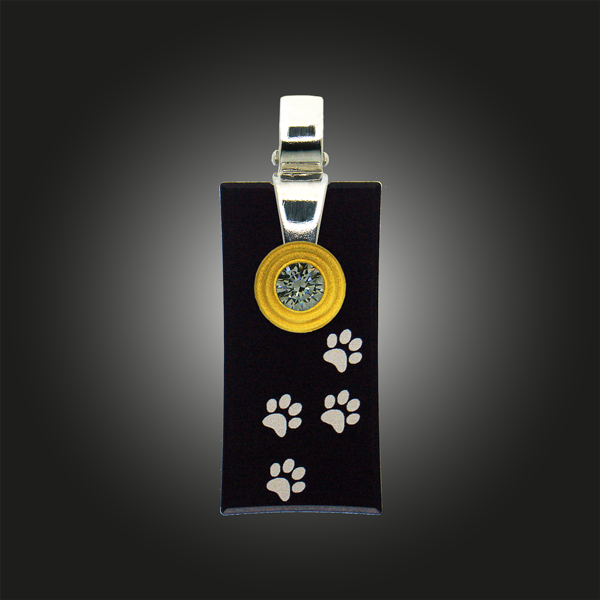 FORMschmuck-Silberanhänger rechteckig Hundepfoten