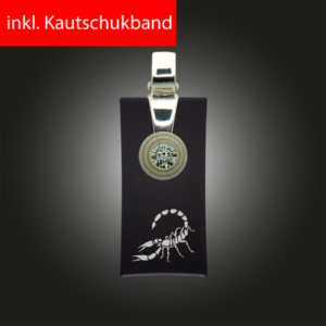 FORMschmuck-Silber Anhänger Sternzeichen Skorpion rechteckig schwarz